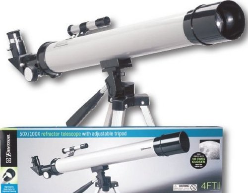"Emerson 50X/100X Refractor Telescope With Adjustable Tripod In ""Silver"""