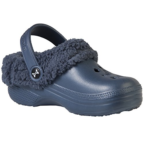DAWGS Hounds Toddler Fleece Clogs (Toddler), Navy/Navy, 8 M US Toddler