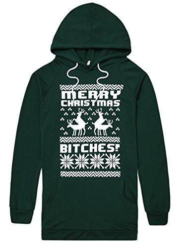 Waboats Felpa con Cappuccio Merry Christmas Bitches Vestito Natale Stampa Donna Verde XXL