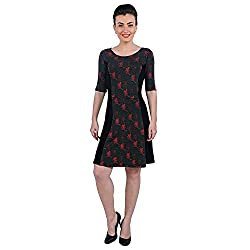 Funk For Hire Women Cotton Lycra knit Katputli printed Panel Dress (Grey/Black, Size XL)