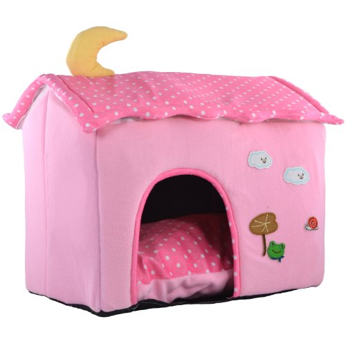 Deluxe Baby Pink Cute Soft Comfort Polka Dot Roof Small Pet Dog House W/ Removable Roof And Fleece Sleeper Pillow front-881646
