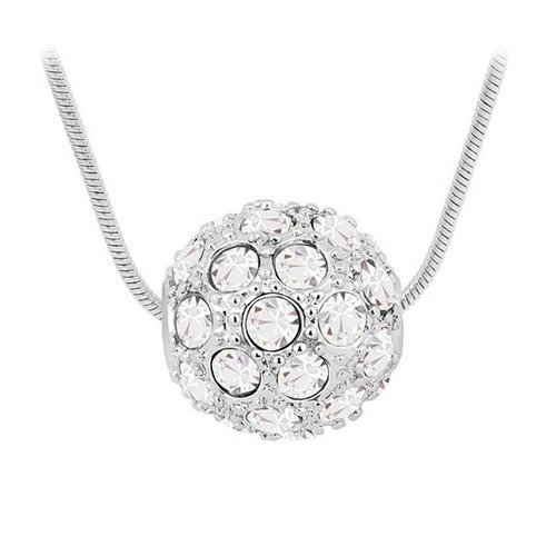 Top Value Jewelry - Beautiful 18K Gold Plated White Crystal Pendant Necklace, Free 18 Inch Chain