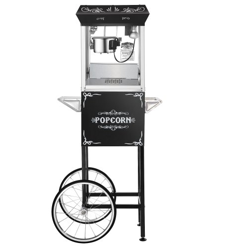 Great Northern Popcorn Black 6 oz. Ounce Foundation Old-Fashioned Movie Theater Style Popcorn Popper With Cart 6