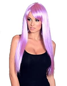 Extra long light purple / lilac purple straight wig classic COSPLAY style with fringe! Amazing quality