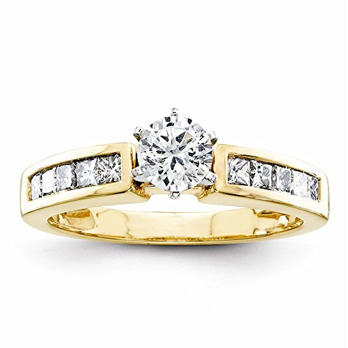 14K Peg Set Contemporary Engagement Ring Mounting