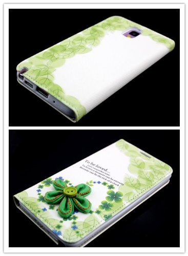 Big Dragonfly New Arrivals Eco Skin Cute 3D Pattern Folio Pu Leather Case With Cover For Samsung Galaxy Note 3 Iii With Built-In Stand, Card Slots And Two Tiny Suction Cups Retail Package(Green Flora To Be Loved) Lawn Green & White front-943817