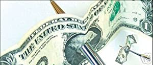 """The Magic Writer Chrome Pen - Magic Pen Thru Dollar Bill Trick with """"How To"""" Instructions"""