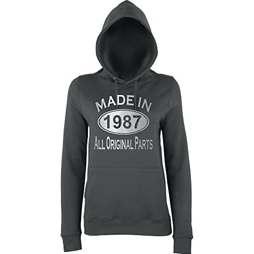 Made In 1987 All Orignal Parts Women Hoodies Silver charcol 2XL UK 18 Euro 42 Bust 40""