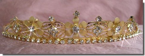 Bridal Wedding Tiara Crown With Gold Flowers 4652G6