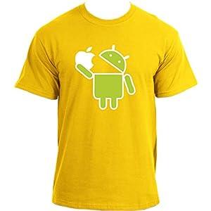 Mange-Apple-Android-Robot-Google-Droid-Parodie-Humoristique-humour-Geek-T-Shirt