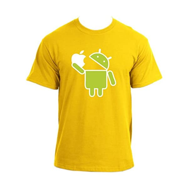 Mange-Apple-Android-Robot-Google-Droid-Parodie-Humoristique-humour-Geek-T-Shirt
