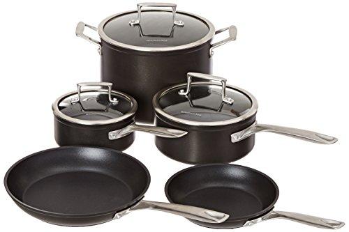 KitchenAid KCH2S08KM Professional Hard Anodized Nonstick 8-Piece Cookware Set - Black