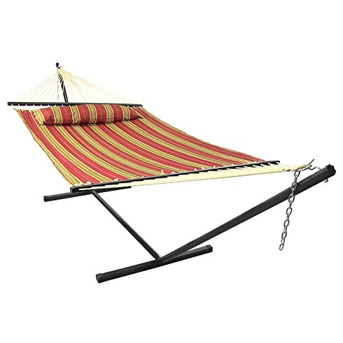 Sunnydaze QFH-RD-COMBO Red Quilted Double Fabric Hammock with Spreader Bars, Pillow & Stand