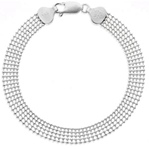 Sterling Silver Five-Row Shot Bead Chain Bracelet, 7
