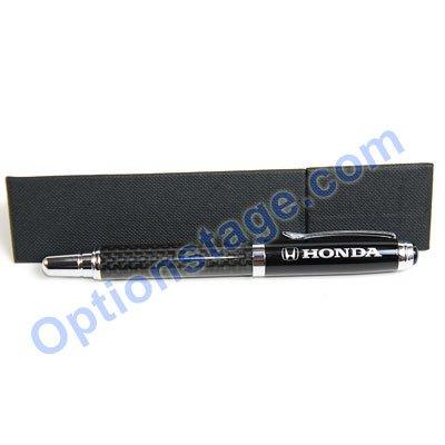 Honda Logo Real Carbon Fiber Official Licensed Roller Ball Pen with Detachable Cap (Black Ink)
