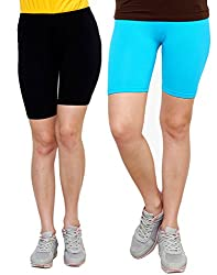 Goodtry Women's Cycling Shorts Pack of 2 Black- Turquoise Blue