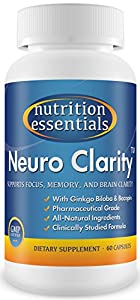 Neuro Clarity - All Natural Brain Function Booster! Super Ginkgo Biloba complex with St John's Wort, and Bacopin - Improve Mental Clarity, Focus, Memory and Concentration! Reduce Stress and Anxiety! Pharmaceutical grade BRAIN GAIN and NEURO ENHANCEMENT in a bottle! 60-Day Supply / 1 Bottle - By Nutrition Essentials