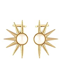 The Jewelbox Trendy Pearl Gold Plated Ear Cuff Pair Earring For Women