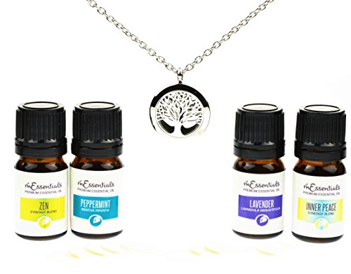 """Tree Of Life Essential Oil Diffuser Necklace Stainless Steel Locket Pendant with 24"""" Chain+ 4 Essential Oils (Lavender Peppermint Inner Peace Zen) Gift Set"""