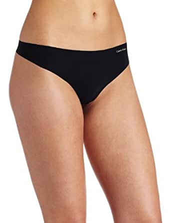 Calvin Klein Women's Invisibles Thong Panty, Black, Small