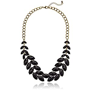 Black Faceted Stone Fern Statement Necklace, 20.5