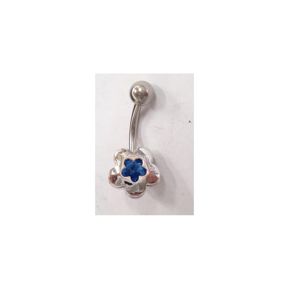 Blue Gem Clover Flower Silver Belly Ring