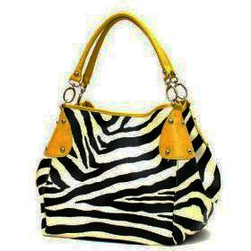 Mustard Yellow Vicky Zebra Print Faux Leather Satchel Bag Hand Shoulder Tote Bag Animal Purse
