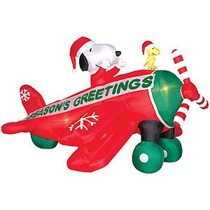 6 Ft. - Gemmy Christmas Airblown Inflatable - Peanuts Animated Snoopy and Woodstock Airplane
