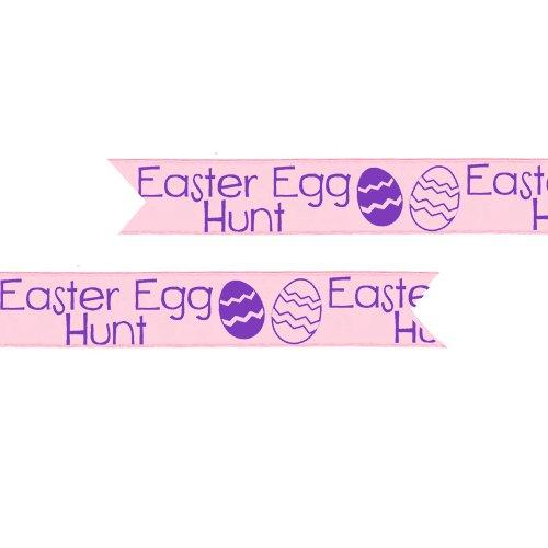 « Easter Egg Hunt » préimprimé ruban - Pale Pink & Purple - 25 mm - au mètre