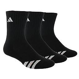 adidas Kids Unisex Striped 3-Pack Crew (Toddler/Little Kid/Big Kid/Adult) Black/White Socks MD (Shoe 13 Little Kid-4 Big Kid)