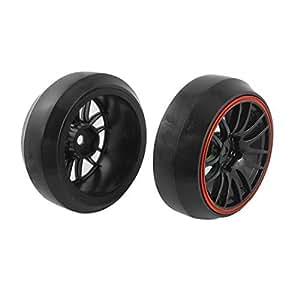 2 Pcs 1/10 Scale RC Car Direction Drift Wheel Rim Tyre for Yokomo HPI
