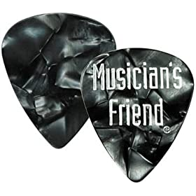 musician friend standard celluloid guitar picks 1 dozen black pearl thin
