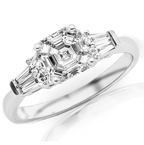 0.86 Carat Asscher Cut / Shape 14K White Gold Prong Set Round And Baguette Diamond Engagement Ring ( G-H Color , Si1 Clarity ) - Size 7