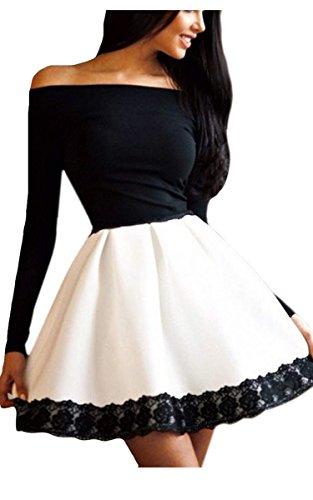 CRAVOG Womens Bodycon Long Sleeve Party Dress Floral Off Shoulder Mini Dress
