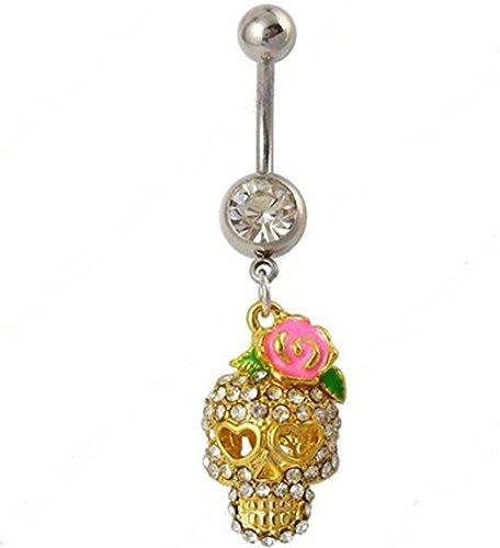 """RichBest 3D Sugar Skull Gioiello per piercing all'ombelico con pendente in oro e zirconia cubica, motivo """"Sugar Skull-Anello ombelico, 14G"""