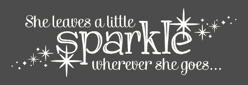 Wall Decor Plus More Wdpm2725 She Leaves A Little Sparkle Wherever She Goes Wall Sticker, 36-Inch X 11-Inch, White front-84346