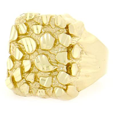 14ct Solid Yellow Gold Nugget Diamond Cut Mens Ring