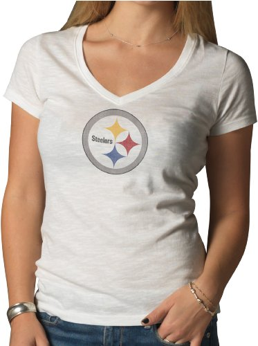 Nfl Pittsburgh Steelers Women'S V-Neck Scrum Tee, Large, White Wash front-996387