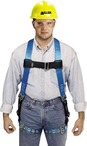 Miller by Honeywell P950D-78/UBL Duraflex Python Full-Body Ultra Harness with Mating Buckle Chest and Leg Straps, Universal, Blue miller titan by honeywell ac qc xsbl aircore full body harness x small blue
