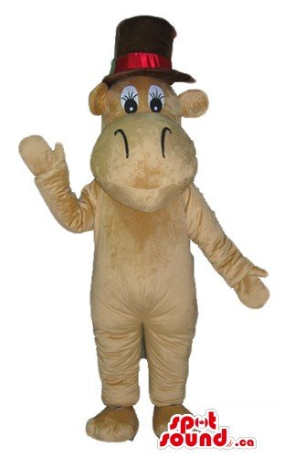 [Brown elegant Hippo in a hat animal SpotSound Mascot US costume fancy dress] (Hippo Mascot Costumes)