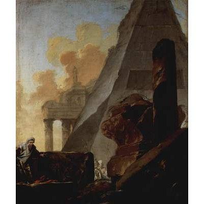 Jean Barbault (Ruins of pyramid) Art Poster Print - 11x17