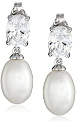 Platinum-Plated Sterling Silver Earrings with Cubic Zirconia and Freshwater Cultured Pearl Oval Drop