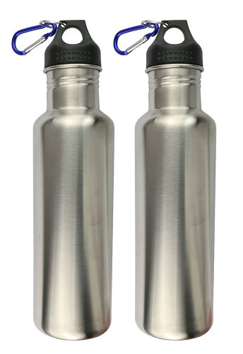 Set Of 2 - 25 Oz. Durable Stainless Steel Sport Water Bottle With Loop Cap And Hanger