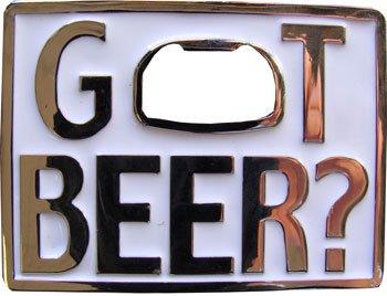 """Got Beer?"" WHITE Rectangular Metal Bottle Opener Belt Buckle"