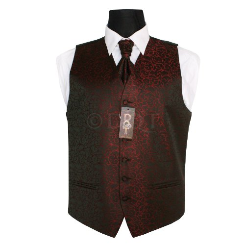 DQT New Swirl Jacquard Black and Burgundy Men's Waistcoat - 44