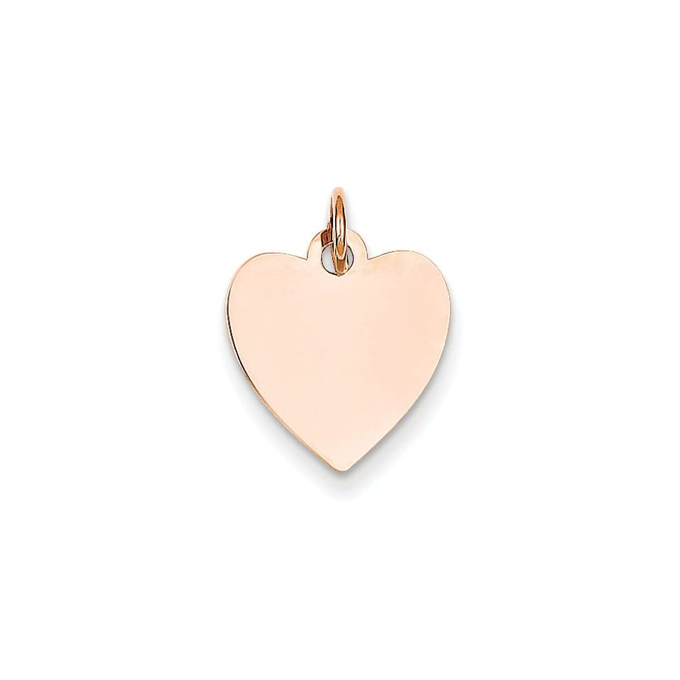 14K Rose Gold Heart Disc Charm Pendant 18mmx13mm Jewelry
