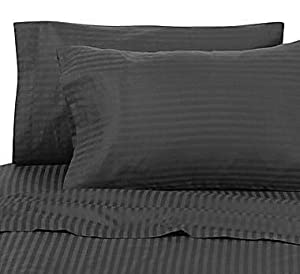 NOHO HOTEL CLASSIC Egyptian Cotton 800 Thread Count Sateen Stripe Bed Sheet Set - Black Full.(WITH BONUS PILLOWCASE EXTRA)