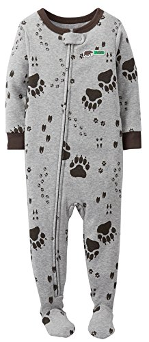 Carters Baby Boys Paw Print Zip Up Sleep & Play 24 Month Grey front-1039967