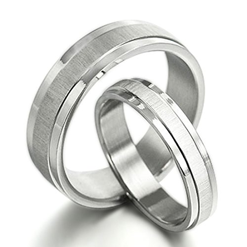 Gemini Groom & Bride Matching Couple Titanium Wedding Engagement Bands Rings Set 6Mm & 4Mm Width Men Ring Size : 16 Women Ring Size : 8.5