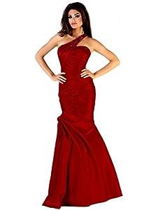 NobleFans 4 Burgundy One Shoulder Sweep Train Taffeta Trumpet Mermaid Prom Dress